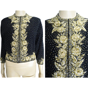 Vintage 1950's Beaded Sweater// Gold Beads//50s Cardigan//Seed Beads//50s Sweater//Black