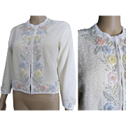 Vintage 1950s Beaded Sweater// Pastel Beads//50s Cardigan//Seed Beads//50s Sweater//Creme