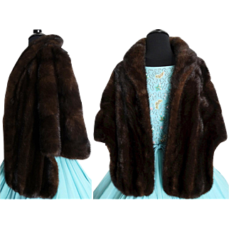 Vintage Mink Stole//Dark Brown//60s Mink Stole//Mink//Mod//High Fashion//Designer//New Look