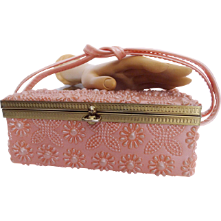 Vintage 1950s Purse//50s Purse//Pink//Oblong Purse//Molded Designs//Handbag//Pink