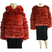 Vintage Fox Fur Coat//Terracotta Detachable collar//Vintage fur Coat//Stole// Shawl//Shrug//Tags Attached//