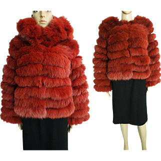 Vintage Fox Fur Coat//Terracotta Detachable collar//Vintage fur Coat//Stole// Shawl//Shrug//Tags Attached//