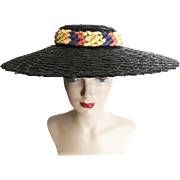 Vintage 1940s Hat//Large Brim//Braided Headband//Multi Colored Ribbons//40 Hat//