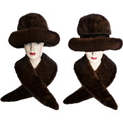 Vintage Mink Hat//Mink Collar//Dark Sable//1960s Hat//Almar Made In Canada//Designer Mink Hat//Couture
