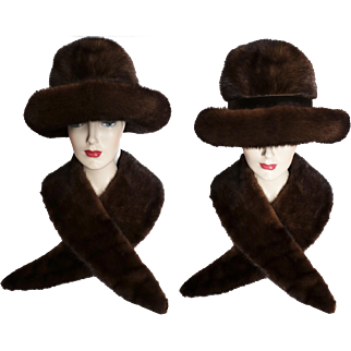 Vintage Mink Hat//Mink Collar//Dark Sable//1960s Hat//Almar Made In Canada//Designer Mink Hat//Couture