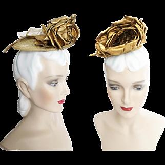 Vintage 1950s Hat // 50s Fascinator // Gold // Designer //50s Hat //Designer//NOS//Tag Attached