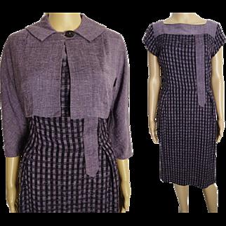 Vintage 1950s Dress//50s Dress/ Lavender//Designer//Matching Bolero Jacket//New Look//Mod//Wiggle//Purple