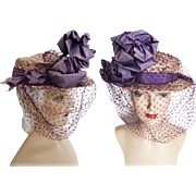 Vintage 1950s Hat //50s Hat//Floral//Designer// Femme Fatale//Mad Men//Rockabilly//Purple