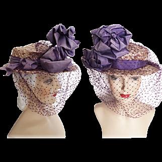 Vintage 1950s Hat //50s Hat//Floral//Designer// Femme Fatale//Mad Men//Rockabilly//Purple