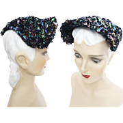 Vintage 1940s Hat//Iridescent Sequins//40s Hat//Seed Beads//Designer//Old Hollywood