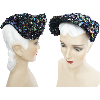 Vintage 1940s Hat//Iridescent Sequins//40s Hat//Seed Beads//Designer//Old Hollywood