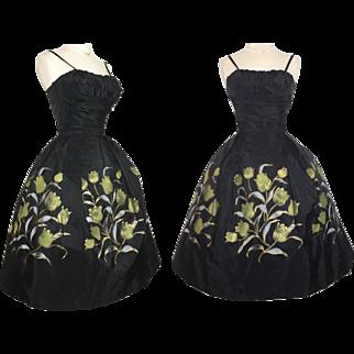 Vintage 1950s Dress//50 Dress//Floral//Rockabilly//Full Circle Dress//New Look//Mod//Garden Party//50s Party Dress
