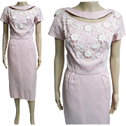 Vintage 1950s Dress//50s Dress/Pink//Rhinestones//Paula Brooks//Original//Wedding//New Look//Rockabilly//Mod