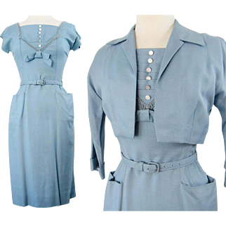 Vintage 1950s Dress//50 Dress//Matching Bolero Jacket//Blue//Wedding//New Look//Rockabilly//Mod