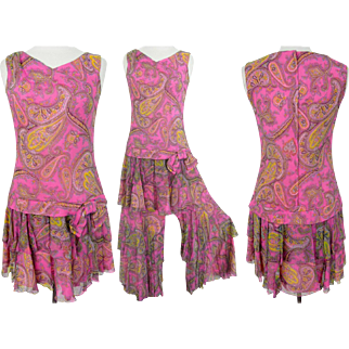 Vintage 1960s Dress | Paisley Print | 60s Mini Dress | Pink Dress | 60s Dress | 60s Mod Dress | Designer Dress | Matching Palazzo Pants |
