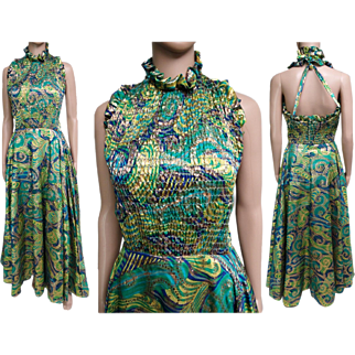 Vintage 1960s Dress//Psychedelic Dress//60 Dress//Halter Dress//Retro//60 Gown//Maxi Dress