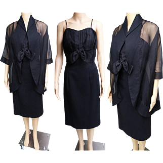 Vintage 1950s Dress//Matching Jacket//50s Dress//Designer Dress//Lilli Diamond//New Look//Party Dress//Black//Mod//Rockabilly