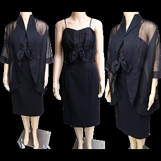 Vintage 1950s Dress//Matching Jacket//50s Dress//Designer Dress//Lilli Diamond//New Look//Party Dress//Black//Mod//Rockabilly