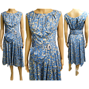 Vintage 1950s Dress//50sDress//Big Rhinestone Buckle//Blue//Gray//Mod//New Look//Rockabilly