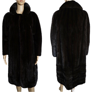 Vintage Mink Coat//Full Length Mink Coat//Dark Mahogany// Designer Mink Coat//