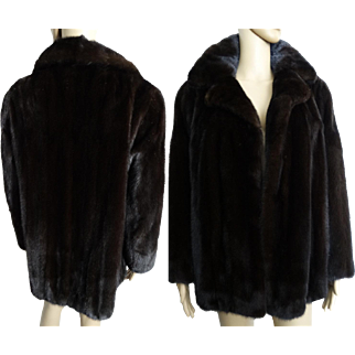 Vintage Mink Coat//Stroller Length Mink Coat//Dark Mahogany// Designer Mink Coat//Fur Salon//Dark Mink Coat