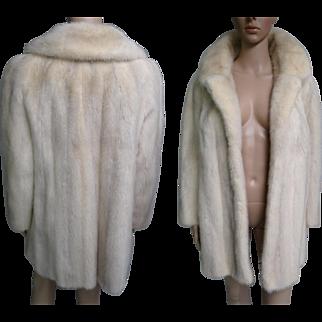 Mink Coat//Stroller Length//White Mink// Designer Mink Coat//Curtis Stewart//San Francisco//Cross Mink