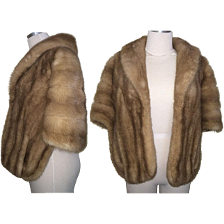 Vintage Mink Stole//60s Mink Stole//Blonde & Brown Mink//Mod//High Fashion//Designer//New Look