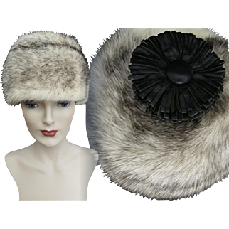 Vintage Mink Hat//Cross Mink//Leather Flower//1960s Hat//Amrose New York//Designer Mink Hat//Couture