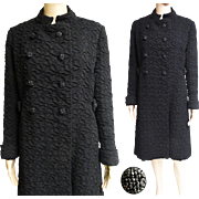 Vintage 1950s Coat//Black Evening Coat//Forecast//Double Breasted//50s coat//Big Black Rhinestone Buttons//Black