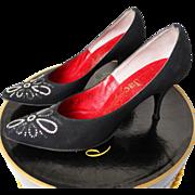 Vintage 1950s Stiletto Heels//Black//Rhinestones//Designer//50s Heels