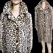 Vintage Leopard Coat//Faux Fur//50s Coat//Faux Leopard Coat//Chain Ornamentation in Back//Rockabilly//Mod//New Look//Leopard Coat