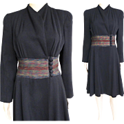 Vintage 1940s Coat Dress//Black//Morton Coy//Multi Colored//40s Coat//Designer Coat//40s Coat Dress