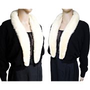 1950s Black White Mink Fur Cardigan Sweater//Alex Wallace//50s Sweater//Mink Fur Collar//50s