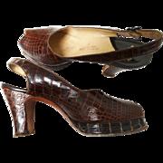 Reserved~~~~~~Vintage 1940s Platforms// 40s Platforms//Open Toe//Slingbacks//Designer//Heels//Pumps//