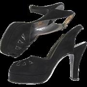 Vintage 1940s Platforms// 40s Platforms//Open Toe//Beleganti//Designer//Black//Heels//
