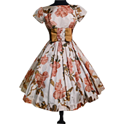 Vintage 1950s Dress//50 Dress//Floral//Rockabilly//Full Circle Dress//New Look//Mod//Garden Party//50s Party Dress//Jr. Theme