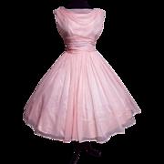 Vintage 1950s Dress//50s Party Dress//Pink//Cocktail Dress//Mod//New Look//Rockabilly//Lorie Deb