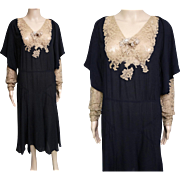Reserved ~ Vintage 1920s Dress // 20s Dress // Roaring 20s Dress //Flapper Dress//Art Nouveau//Black Silk Bishop Sleeves//
