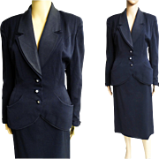 Vintage 1940s Suit//Designer//40s suit//World War - Era// WWII-era//Navy Blue//