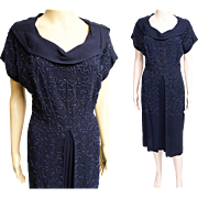 Vintage 1940s Dress//40s Dress//Navy Blue//Beaded//Carnival Beads//Party Dress//Cocktail Dress//New Look//Mod