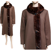 Vintage 1950s Coat//Mink Trim//Tuxedo Mink Front//Tailored//50s coat//Designer//Rockabilly//Mod//New Look//Designer//