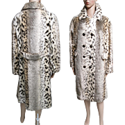 Vintage Leopard Coat//1960s Coat//Faux Leopard//Double Breasted//60s coat//Half Belt in Back//Fall coat//Designer//