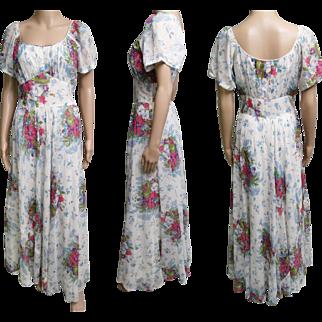 Vintage 1940s Dress//40s Dress//Evening Gown//Old Hollywood//Art Deco//Art Nouveau//Floral//40s gown//
