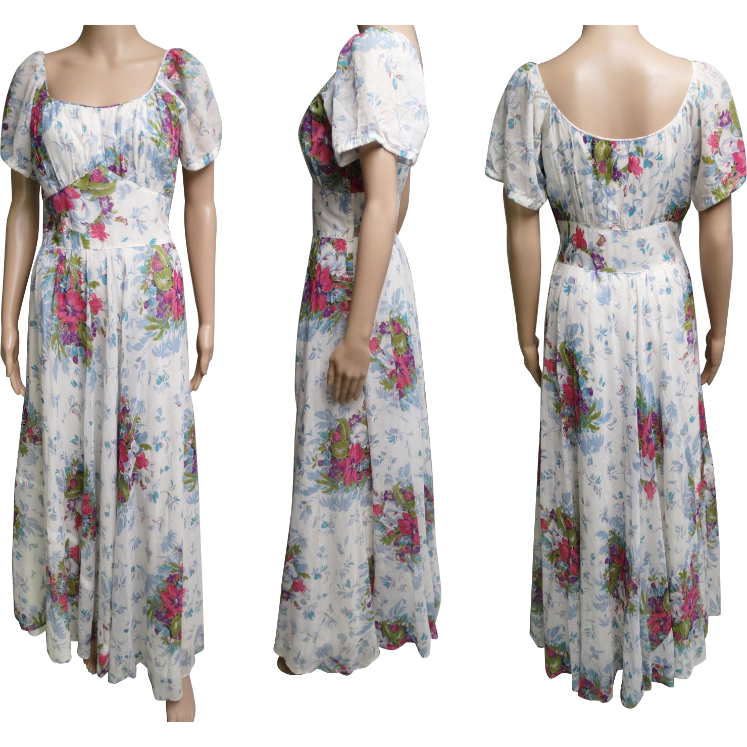 1940s Dressing Gown: Vintage 1940s Dress//40s Dress//Evening Gown//Old
