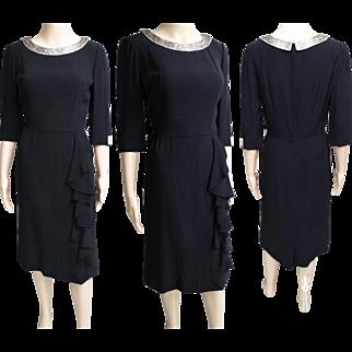 Vintage 1950s Dress//50s Dress//Tags Attached//NOS//Black//Silver Seedbeads//Designer//Party Dress//Cocktail Dress