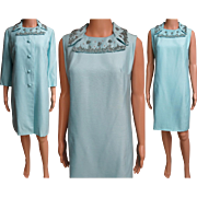 Vintage 1960s Dress//Matching Coat//60s Cocktail Dress//Mod//New Look//Rockabilly//Party Dress//Aqua//Beaded