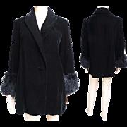 Vintage Velvet Jacket//Stroller Length//Marabou Feathers//Black//