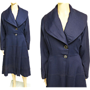 Vintage 1940s Coat//Navy Blue//Princess Style Coat//40s Coat//40s Coat Dress