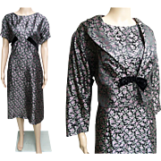 Vintage 1940s Dress//Larger Size//Matching Bolero Jacket//Wiggle Dress//Mod//New Look//Rockabilly//Floral