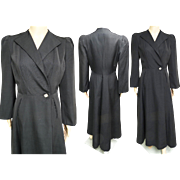 Vintage 1940s Coat//Opera Coat//Black//Art Deco//40s Opera Coat//Art Deco//Old Hollywood
